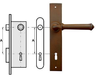 Rozstaw klamki na klucz zwykły